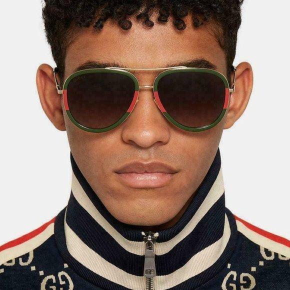 💯 GUCCI unisex GG0062s 003 Gold Green Sunglasses